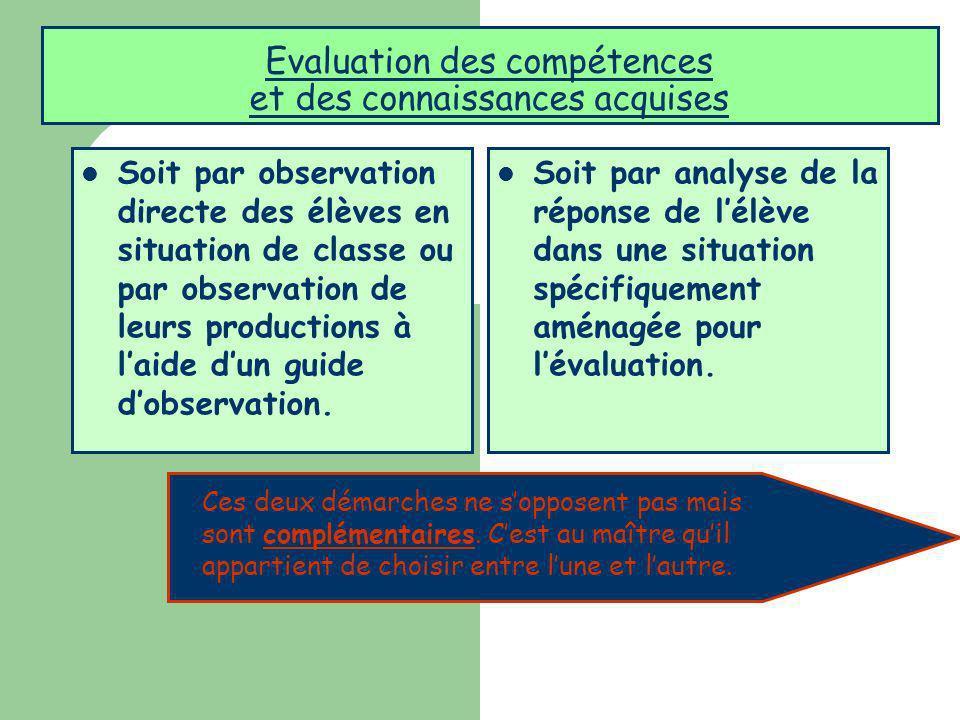 Evaluation des compétences et des connaissances acquises Soit par observation directe des élèves en situation de classe ou par observation de leurs pr