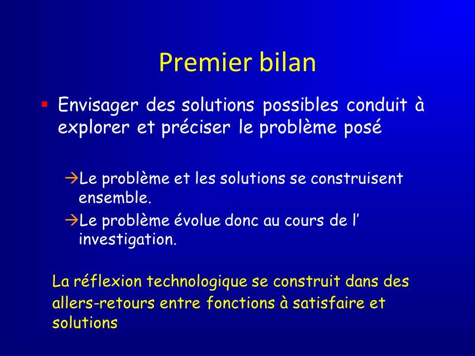 Premier bilan Envisager des solutions possibles conduit à explorer et préciser le problème posé Le problème et les solutions se construisent ensemble.