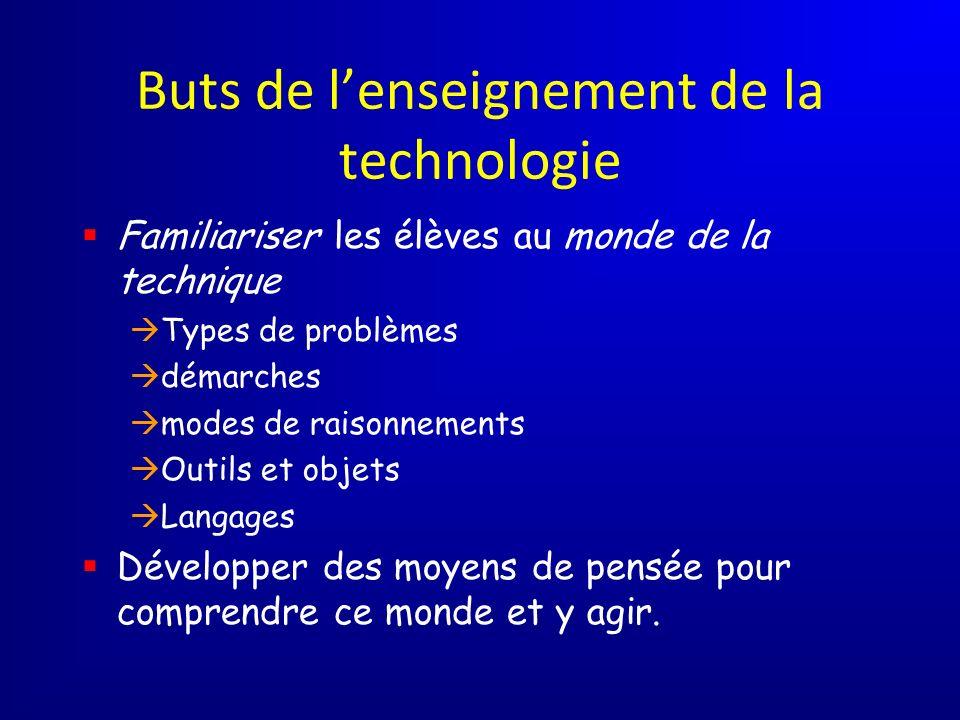 Buts de lenseignement de la technologie Familiariser les élèves au monde de la technique Types de problèmes démarches modes de raisonnements Outils et