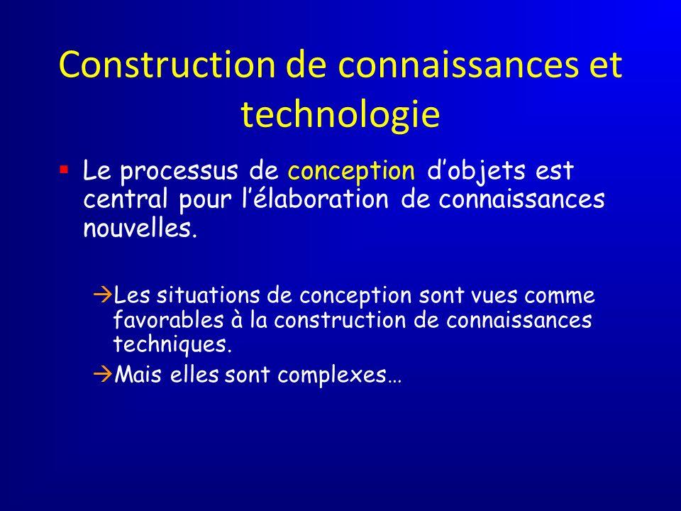 Construction de connaissances et technologie Le processus de conception dobjets est central pour lélaboration de connaissances nouvelles. Les situatio