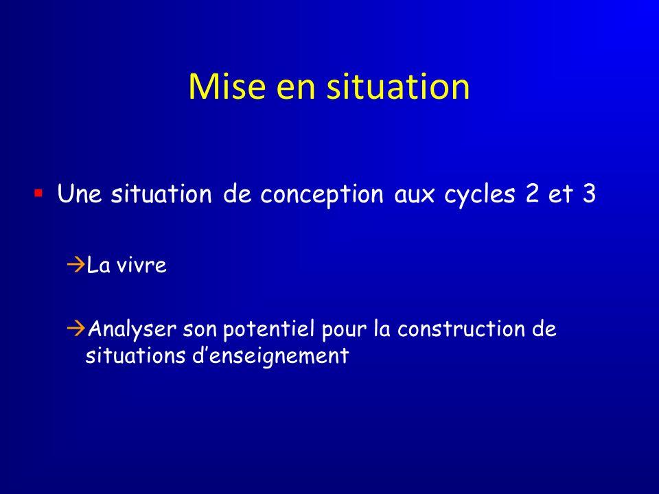 Mise en situation Une situation de conception aux cycles 2 et 3 La vivre Analyser son potentiel pour la construction de situations denseignement