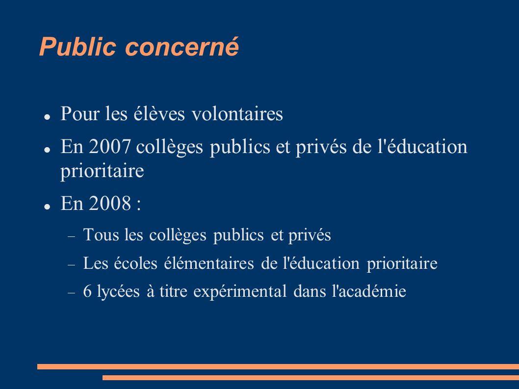 Public concerné Pour les élèves volontaires En 2007 collèges publics et privés de l éducation prioritaire En 2008 : Tous les collèges publics et privés Les écoles élémentaires de l éducation prioritaire 6 lycées à titre expérimental dans l académie