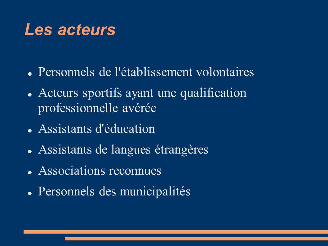 Les acteurs Personnels de l établissement volontaires Acteurs sportifs ayant une qualification professionnelle avérée Assistants d éducation Assistants de langues étrangères Associations reconnues Personnels des municipalités