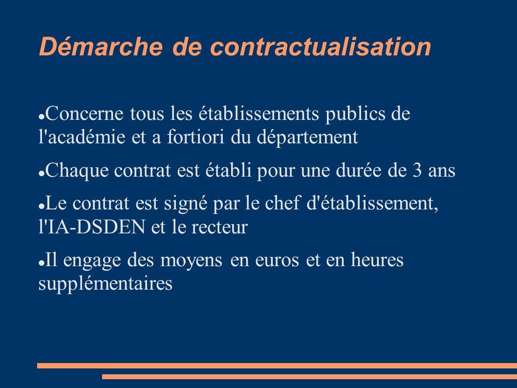 Démarche de contractualisation Concerne tous les établissements publics de l académie et a fortiori du département Chaque contrat est établi pour une durée de 3 ans Le contrat est signé par le chef d établissement, l IA-DSDEN et le recteur Il engage des moyens en euros et en heures supplémentaires