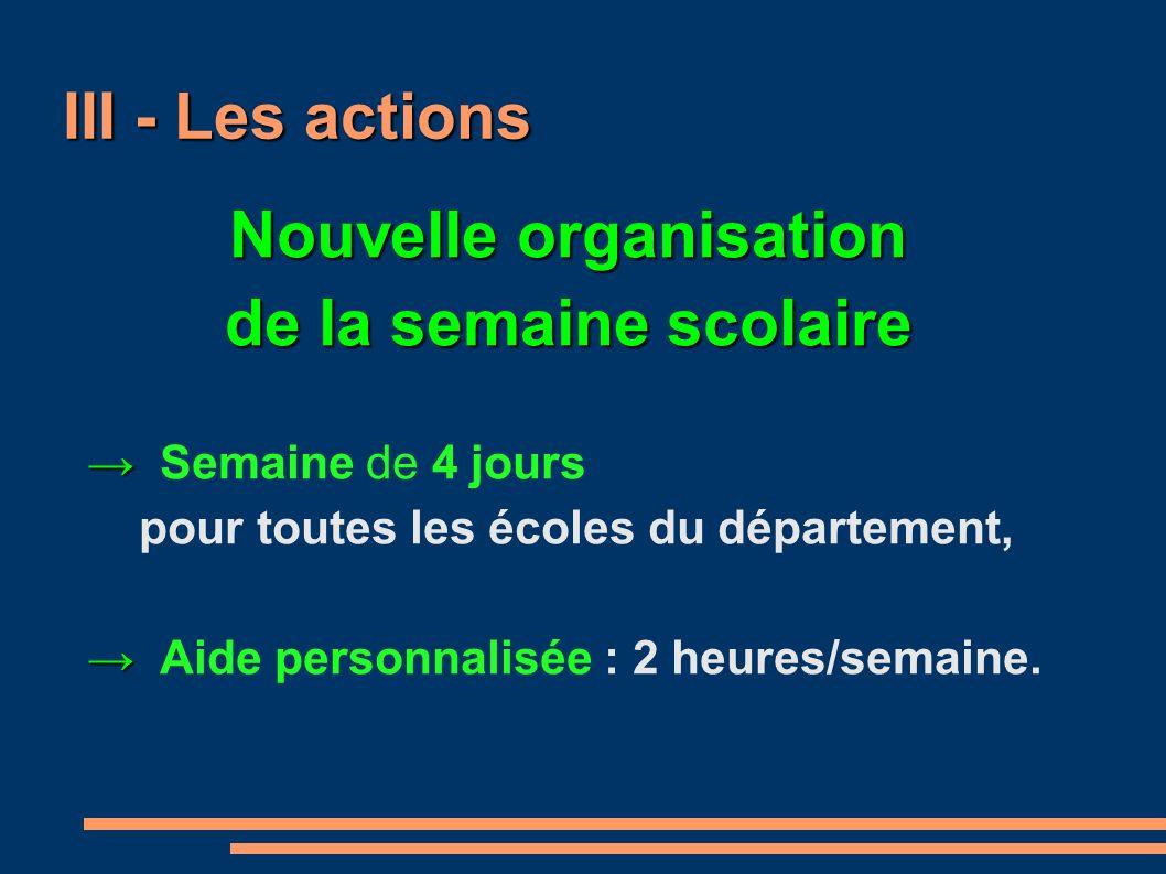 III - Les actions Nouvelle organisation de la semaine scolaire Semaine de 4 jours pour toutes les écoles du département, Aide personnalisée : 2 heures/semaine.