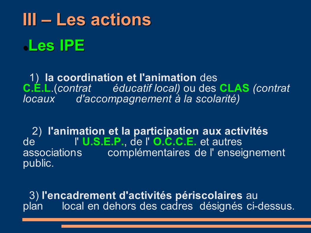 III – Les actions Les IPE Les IPE 1) la coordination et l animation des C.E.L.(contrat éducatif local) ou des CLAS (contrat locaux d accompagnement à la scolarité) 2) l animation et la participation aux activités de l U.S.E.P., de l O.C.C.E.