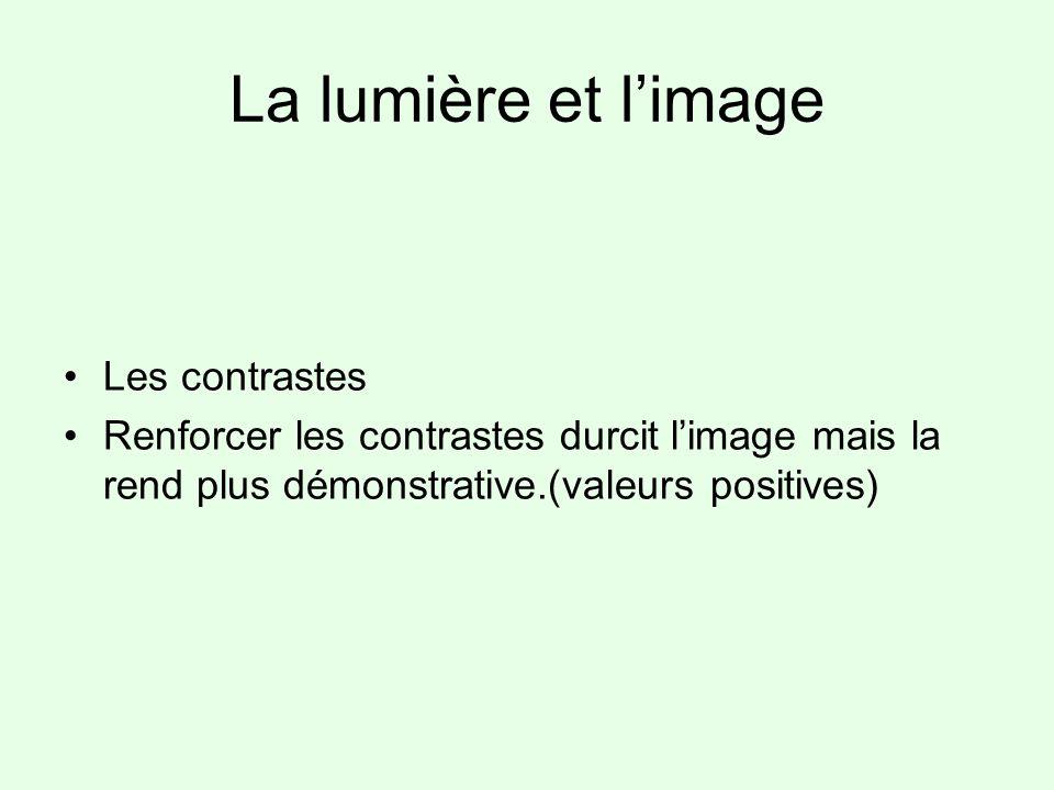 La lumière et limage Les contrastes Renforcer les contrastes durcit limage mais la rend plus démonstrative.(valeurs positives)