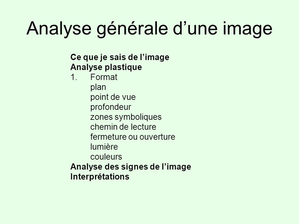 Analyse générale dune image Ce que je sais de limage Analyse plastique 1.Format plan point de vue profondeur zones symboliques chemin de lecture ferme