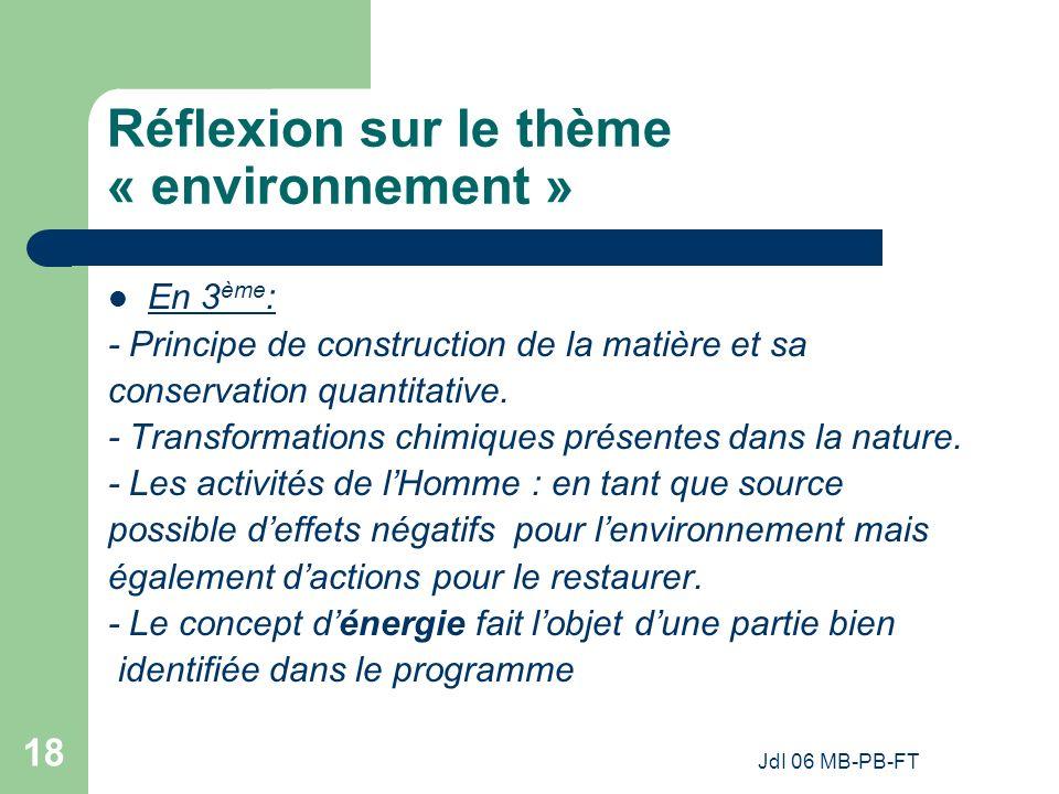 JdI 06 MB-PB-FT 18 Réflexion sur le thème « environnement » En 3 ème : - Principe de construction de la matière et sa conservation quantitative.