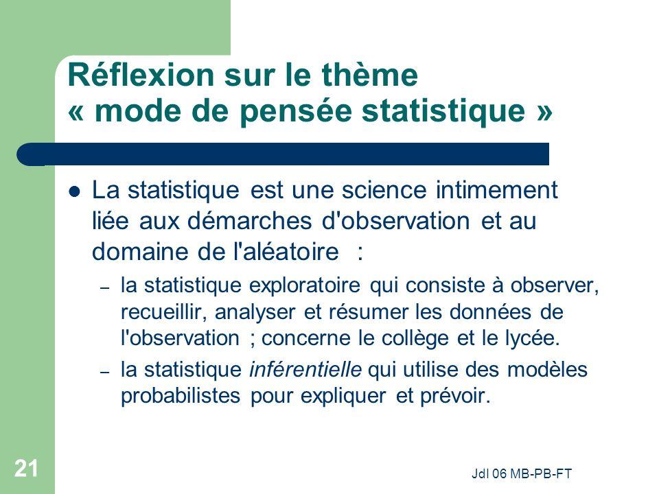 JdI 06 MB-PB-FT 21 Réflexion sur le thème « mode de pensée statistique » La statistique est une science intimement liée aux démarches d observation et au domaine de l aléatoire : – la statistique exploratoire qui consiste à observer, recueillir, analyser et résumer les données de l observation ; concerne le collège et le lycée.