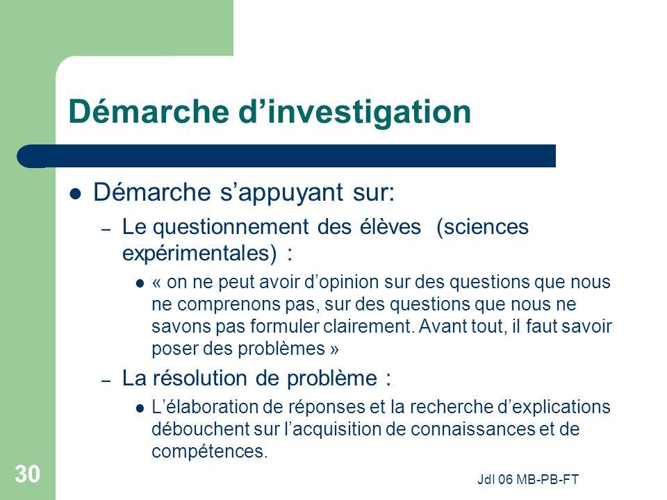 JdI 06 MB-PB-FT 30 Démarche dinvestigation Démarche sappuyant sur: – Le questionnement des élèves (sciences expérimentales) : « on ne peut avoir dopinion sur des questions que nous ne comprenons pas, sur des questions que nous ne savons pas formuler clairement.