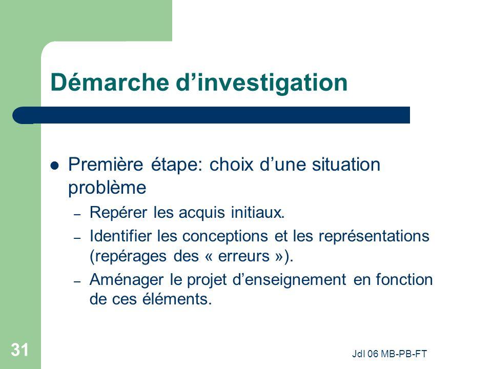 JdI 06 MB-PB-FT 31 Démarche dinvestigation Première étape: choix dune situation problème – Repérer les acquis initiaux.
