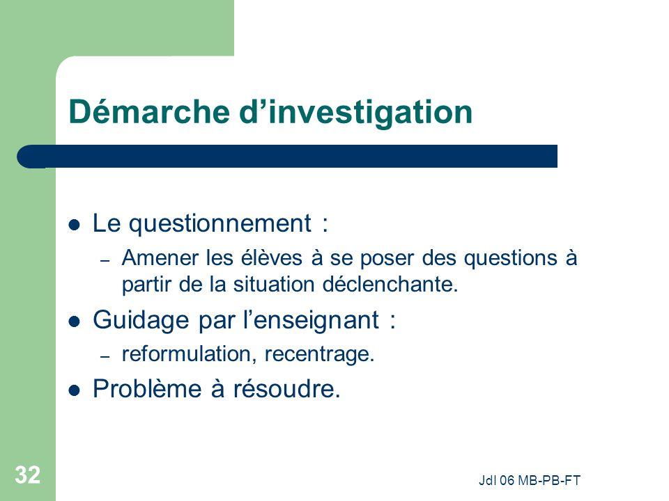 JdI 06 MB-PB-FT 32 Démarche dinvestigation Le questionnement : – Amener les élèves à se poser des questions à partir de la situation déclenchante.