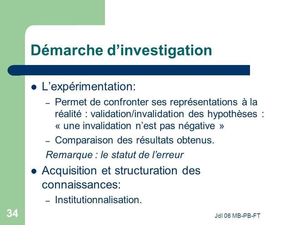 JdI 06 MB-PB-FT 34 Démarche dinvestigation Lexpérimentation: – Permet de confronter ses représentations à la réalité : validation/invalidation des hypothèses : « une invalidation nest pas négative » – Comparaison des résultats obtenus.