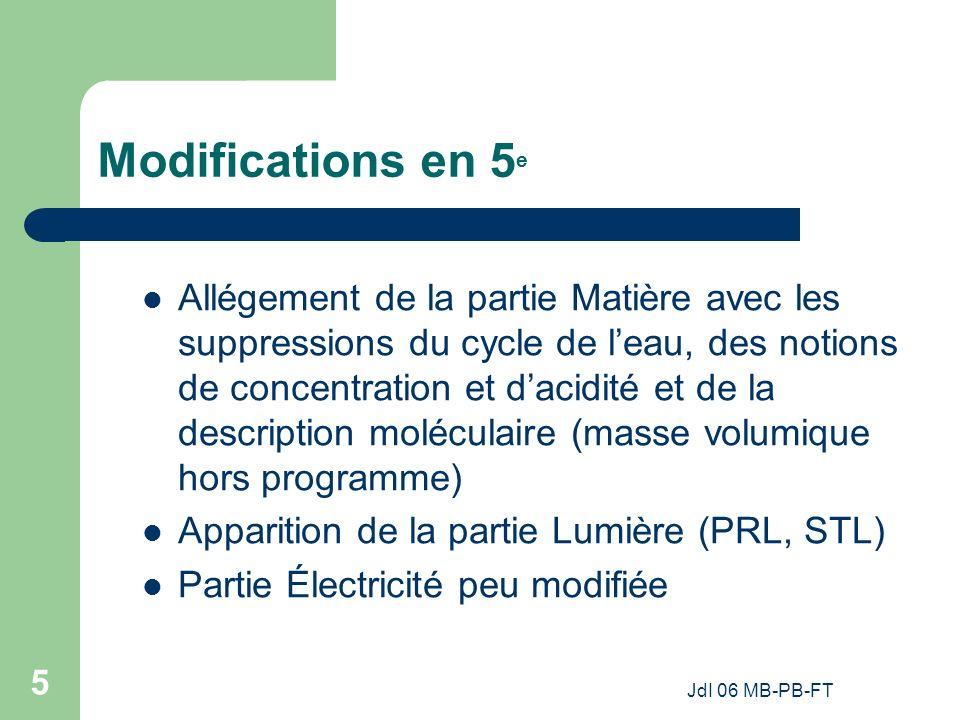 JdI 06 MB-PB-FT 5 Modifications en 5 e Allégement de la partie Matière avec les suppressions du cycle de leau, des notions de concentration et dacidité et de la description moléculaire (masse volumique hors programme) Apparition de la partie Lumière (PRL, STL) Partie Électricité peu modifiée