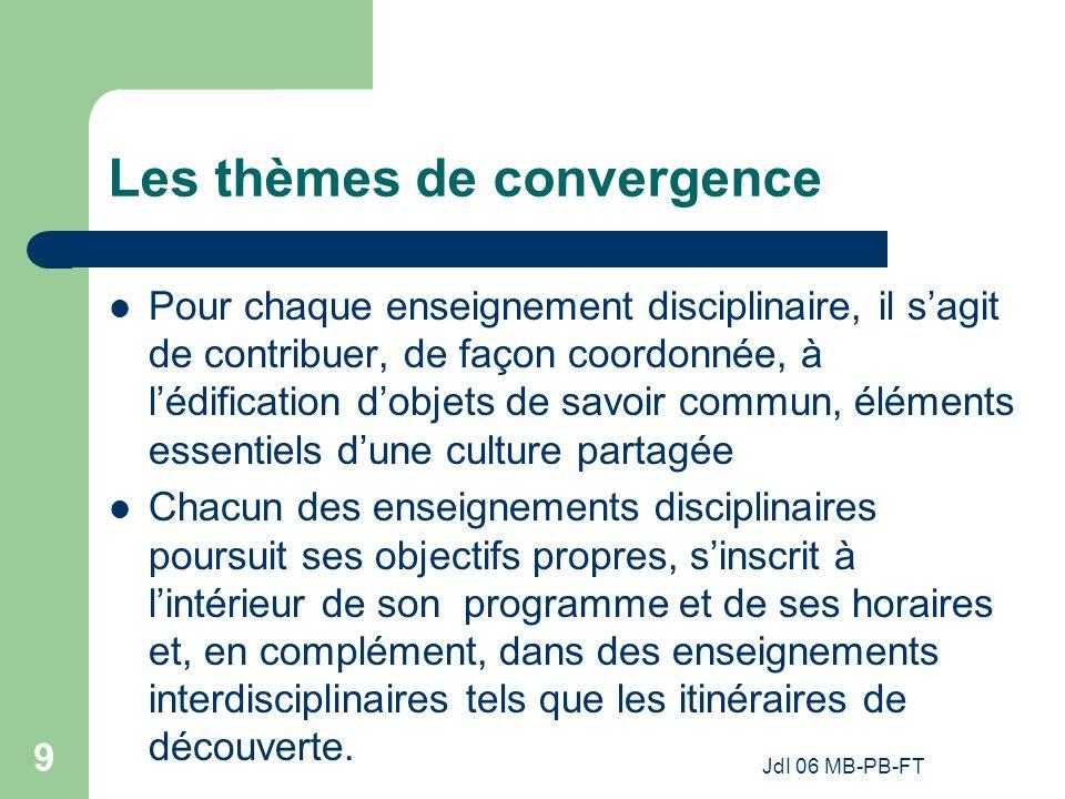 JdI 06 MB-PB-FT 9 Les thèmes de convergence Pour chaque enseignement disciplinaire, il sagit de contribuer, de façon coordonnée, à lédification dobjets de savoir commun, éléments essentiels dune culture partagée Chacun des enseignements disciplinaires poursuit ses objectifs propres, sinscrit à lintérieur de son programme et de ses horaires et, en complément, dans des enseignements interdisciplinaires tels que les itinéraires de découverte.