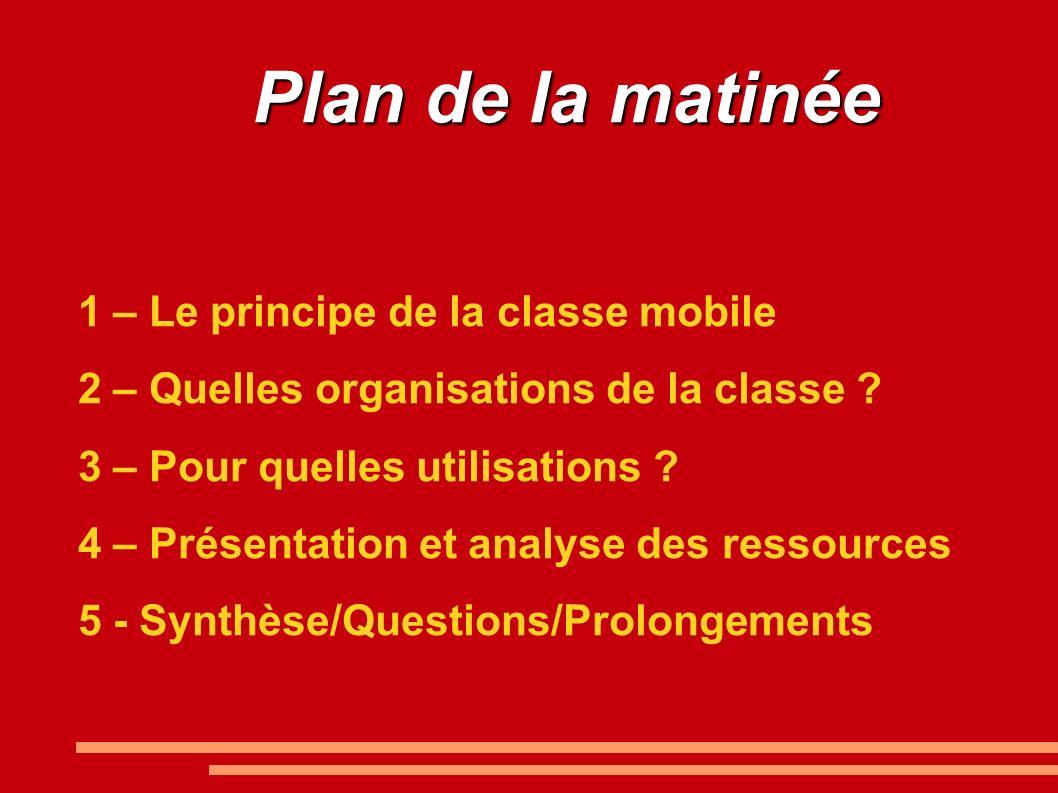 Plan de la matinée 1 – Le principe de la classe mobile 2 – Quelles organisations de la classe .