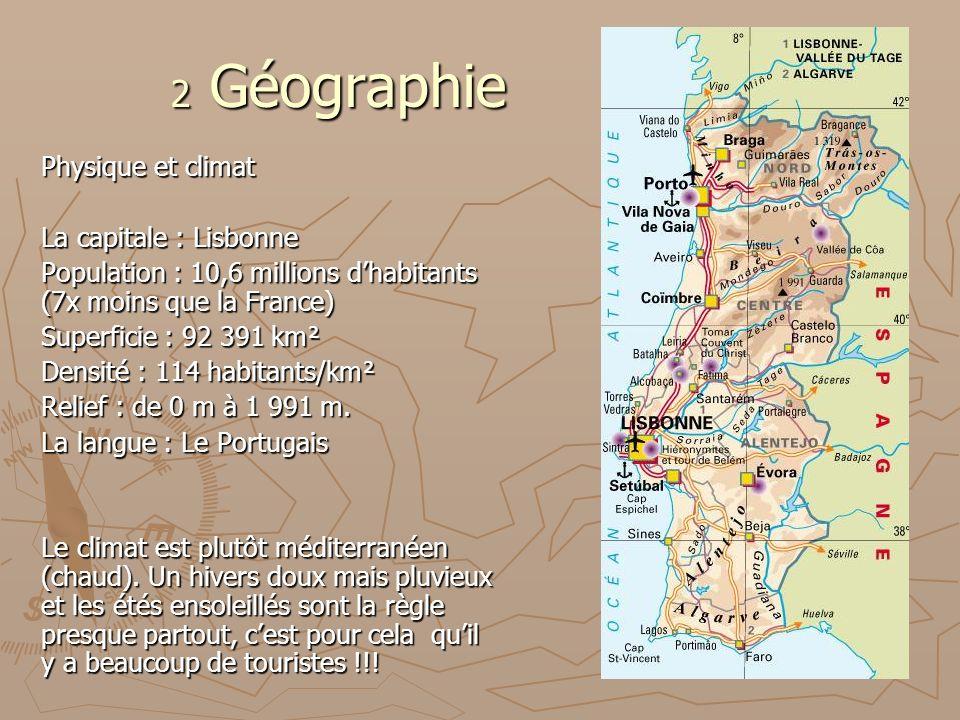 2 Géographie Physique et climat La capitale : Lisbonne Population : 10,6 millions dhabitants (7x moins que la France) Superficie : 92 391 km² Densité