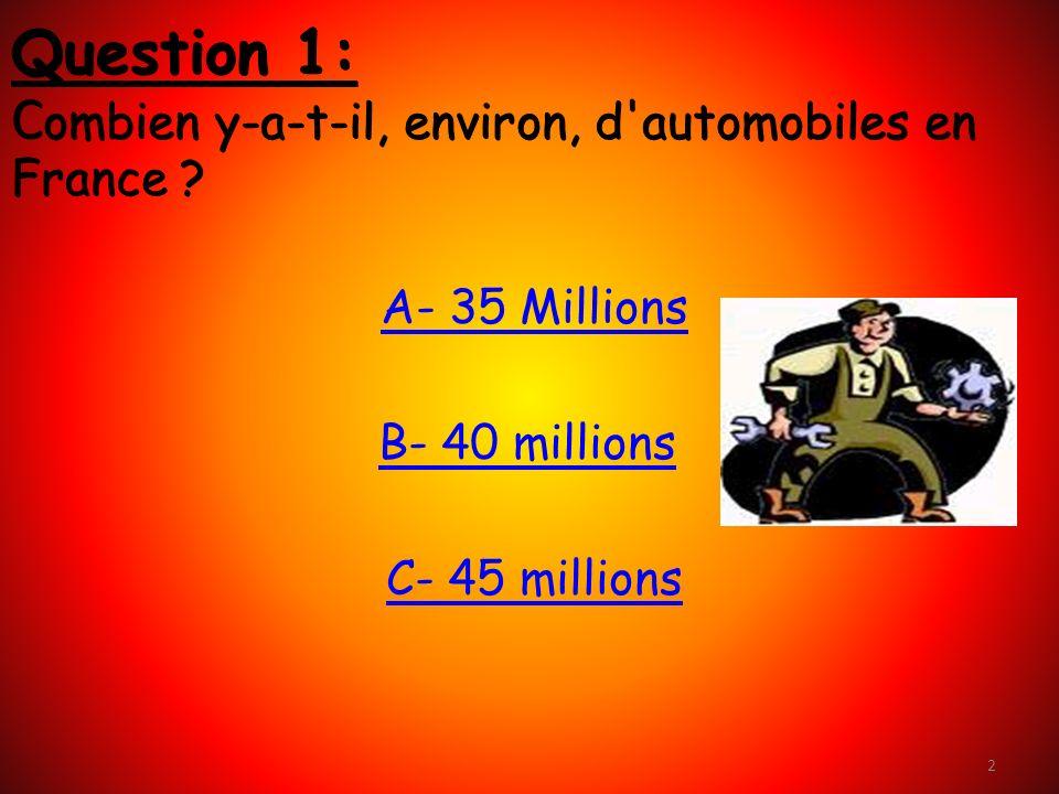 2 Question 1: C ombien y-a-t-il, environ, d automobiles en France .