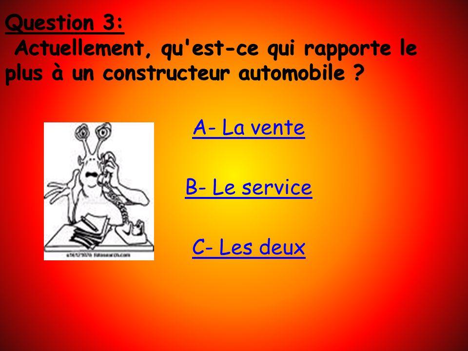 A- La vente B- Le service C- Les deux Question 3: Actuellement, qu est-ce qui rapporte le plus à un constructeur automobile ?
