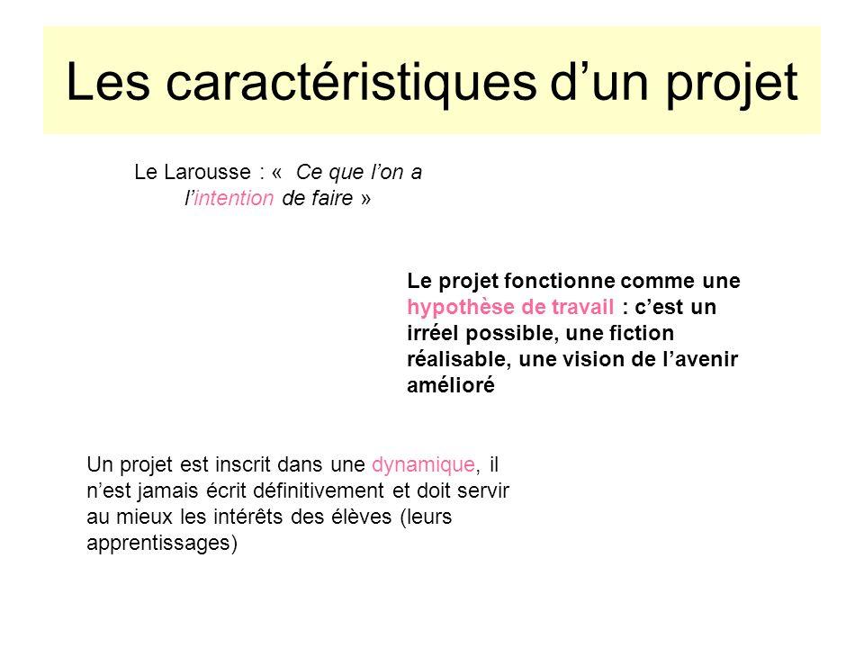 Les caractéristiques dun projet Le Larousse : « Ce que lon a lintention de faire » Le projet fonctionne comme une hypothèse de travail : cest un irrée