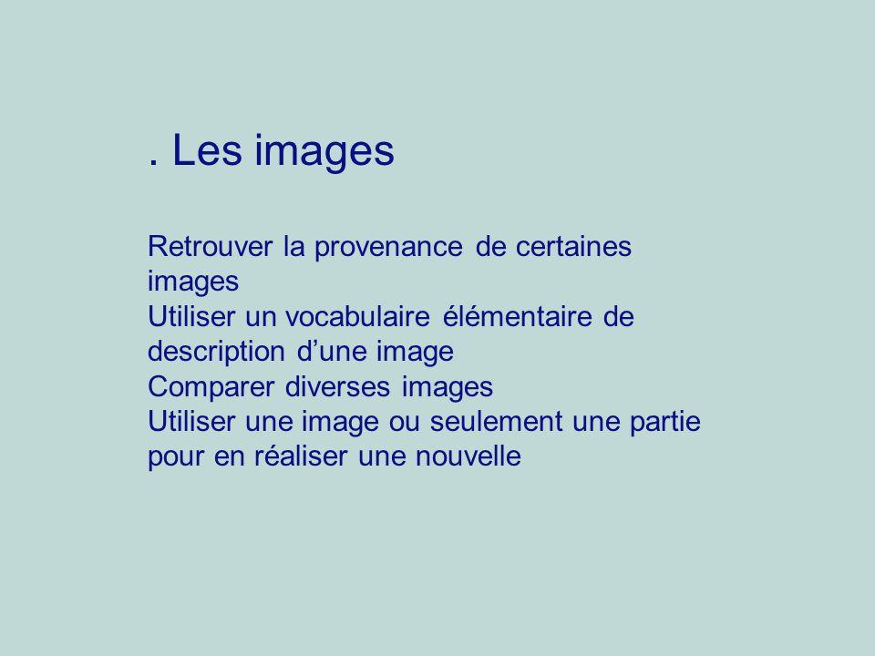 . Les images Retrouver la provenance de certaines images Utiliser un vocabulaire élémentaire de description dune image Comparer diverses images Utilis