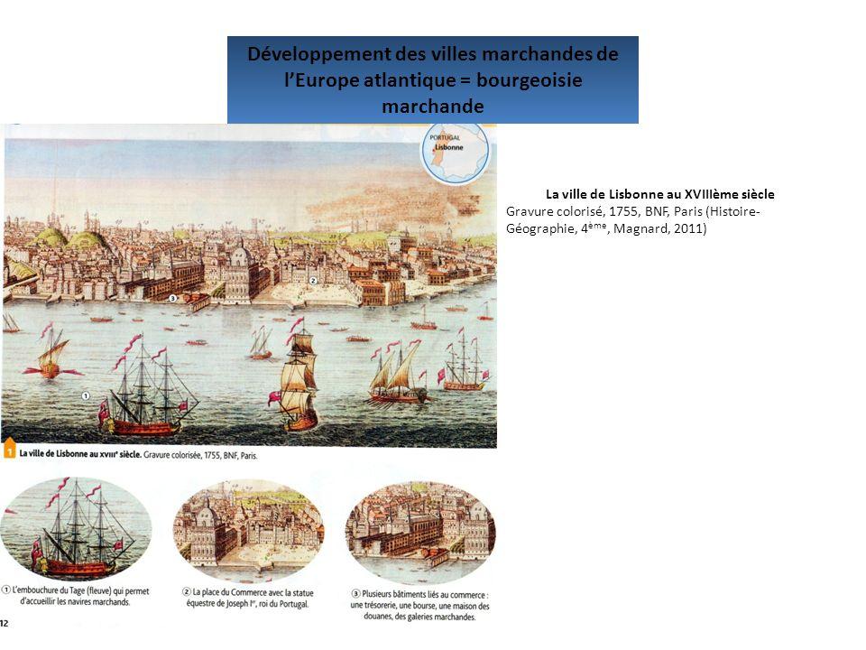 Développement des villes marchandes de lEurope atlantique = bourgeoisie marchande La ville de Lisbonne au XVIIIème siècle Gravure colorisé, 1755, BNF,