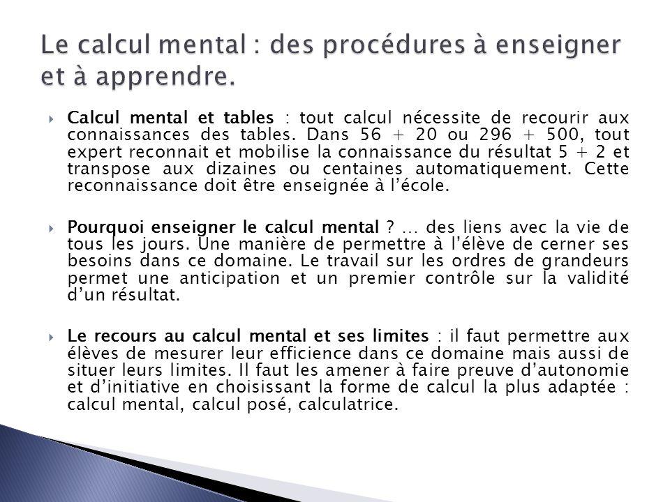 Calcul mental et tables : tout calcul nécessite de recourir aux connaissances des tables. Dans 56 + 20 ou 296 + 500, tout expert reconnait et mobilise