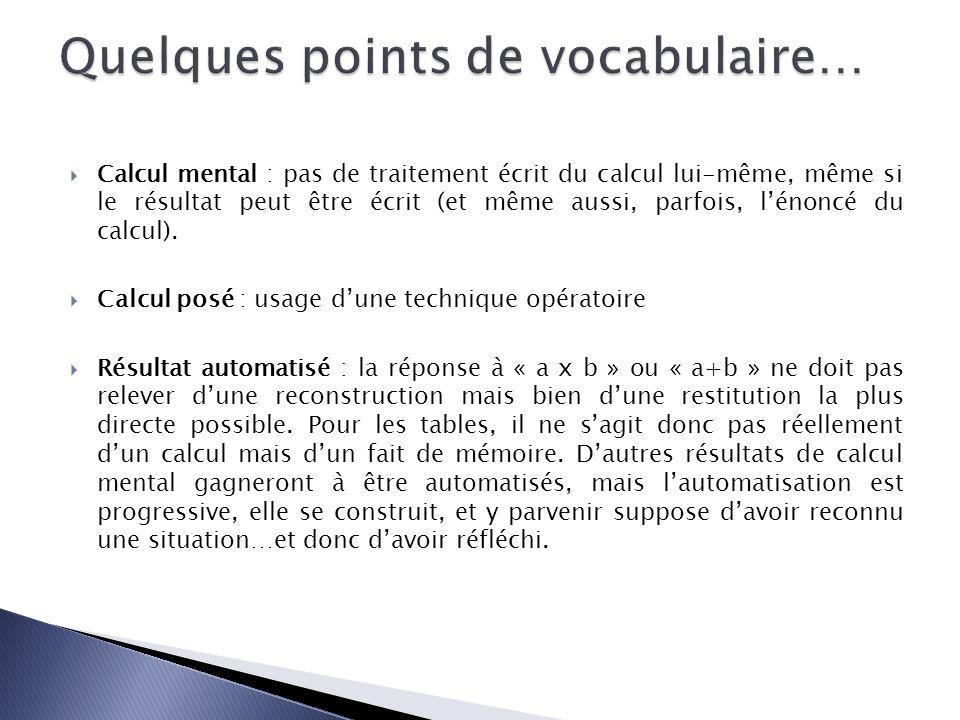 Calcul mental : pas de traitement écrit du calcul lui-même, même si le résultat peut être écrit (et même aussi, parfois, lénoncé du calcul).