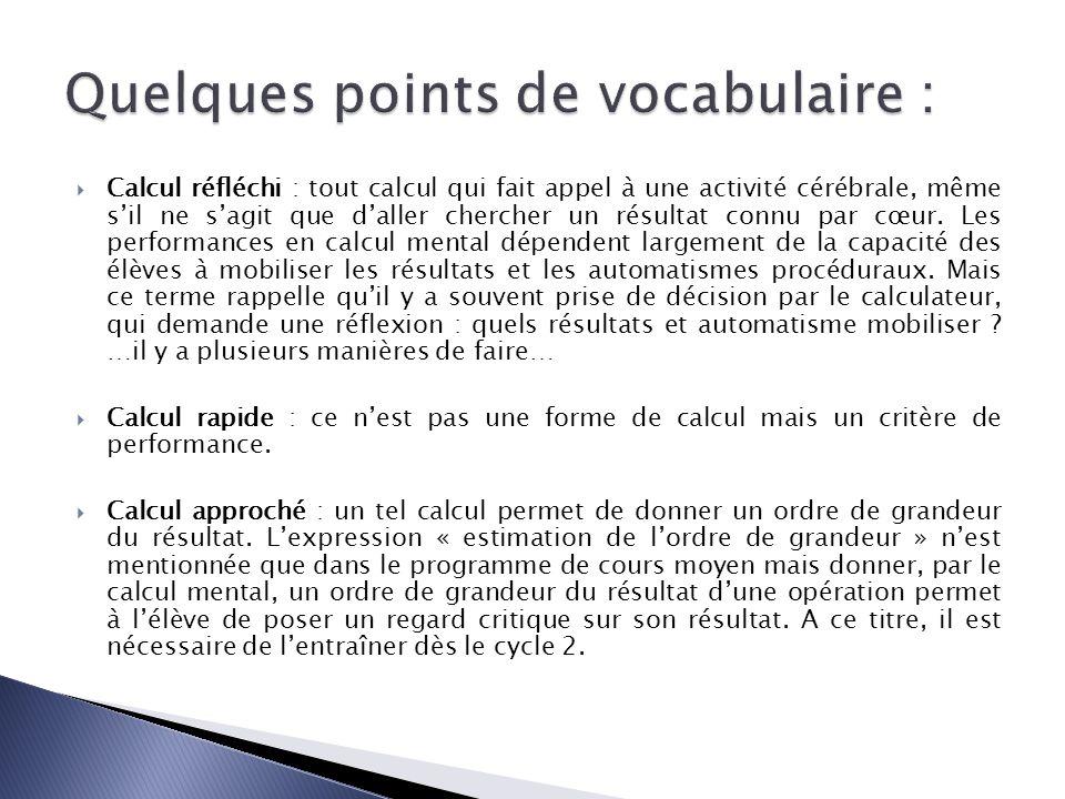 Dans les programmes 2008… des indications concernant les tables…connaitre, mémoriser, restituer des éléments concernant le calcul mental … produire, reconnaitre, utiliser, calculer mentalement…un travail quotidien.