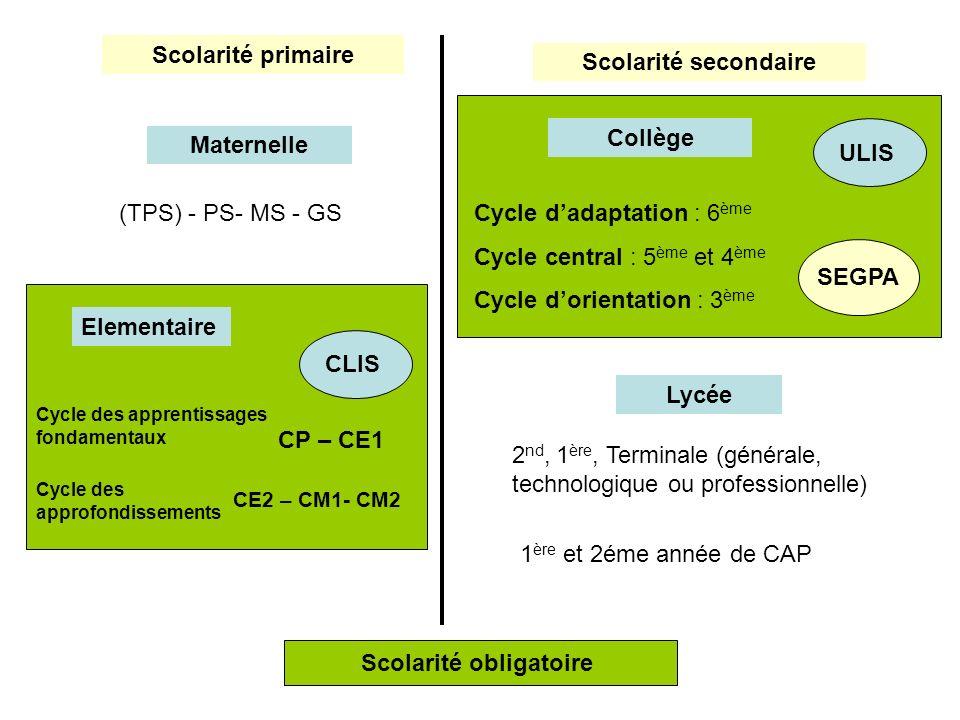 Scolarité primaire Scolarité secondaire Maternelle (TPS) - PS- MS - GS Elementaire Cycle des apprentissages fondamentaux CP – CE1 Cycle des approfondi
