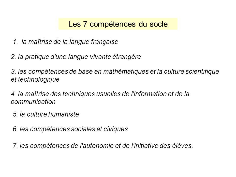 Les 7 compétences du socle 1.la maîtrise de la langue française 2. la pratique d'une langue vivante étrangère 3. les compétences de base en mathématiq