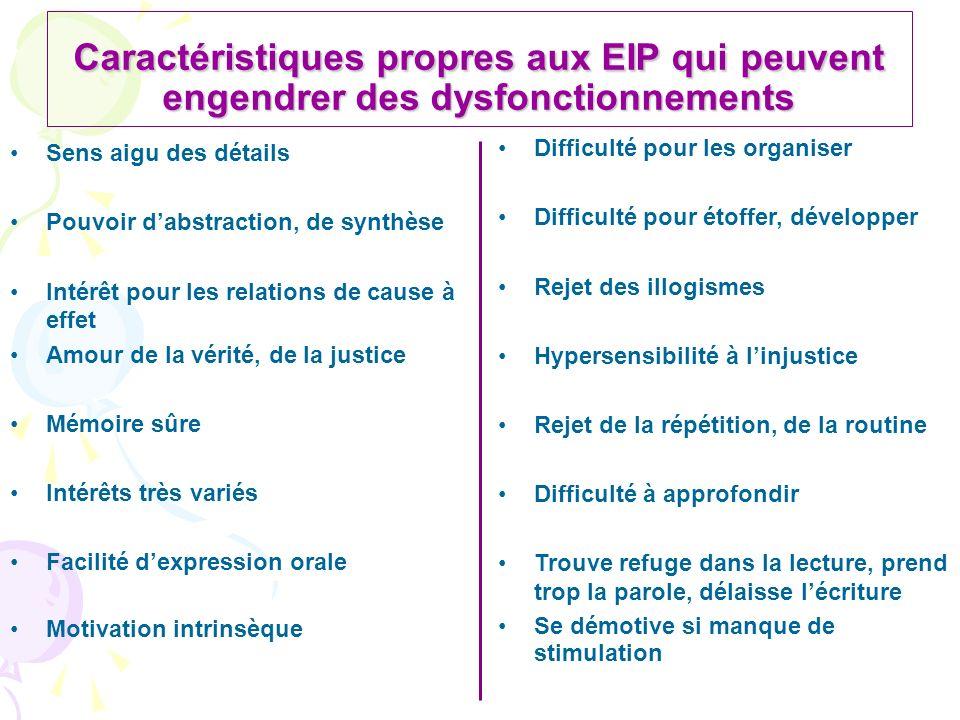 Caractéristiques propres aux EIP qui peuvent engendrer des dysfonctionnements Sens aigu des détails Pouvoir dabstraction, de synthèse Intérêt pour les