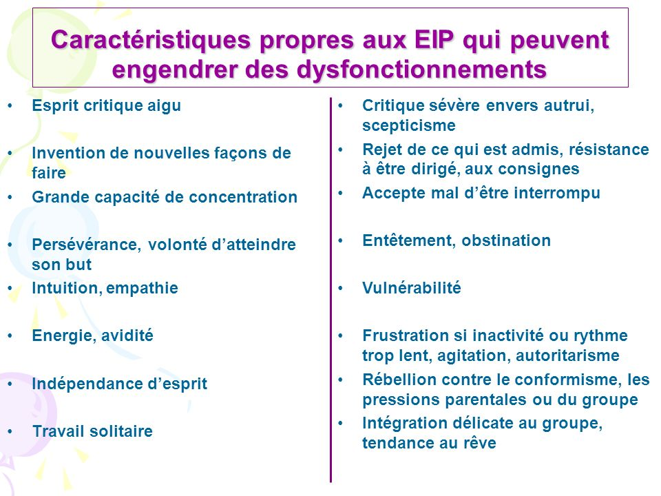 Caractéristiques propres aux EIP qui peuvent engendrer des dysfonctionnements Esprit critique aigu Invention de nouvelles façons de faire Grande capac