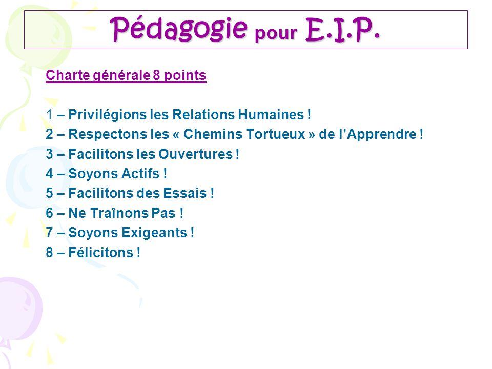 Pédagogie pour E.I.P. Charte générale 8 points 1 – Privilégions les Relations Humaines ! 2 – Respectons les « Chemins Tortueux » de lApprendre ! 3 – F