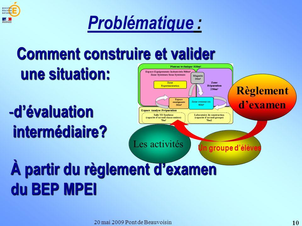 Comment construire et valider une situation: 20 mai 2009 Pont de Beauvoisin 10 Problématique : - dévaluation intermédiaire? intermédiaire? À partir du