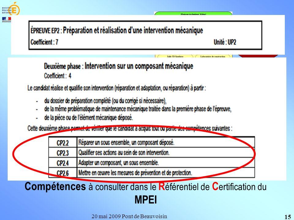 20 mai 2009 Pont de Beauvoisin 15 Un groupe délèves Les activités Règlement dexamen Compétences à consulter dans le R éférentiel de C ertification du