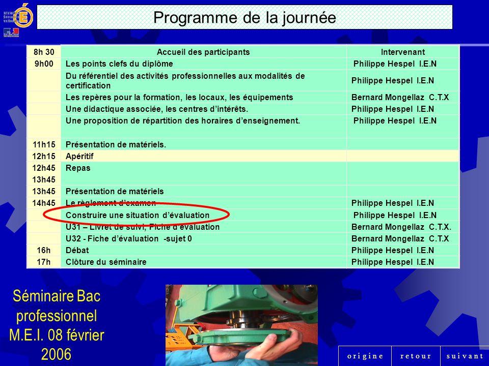 r e t o u rs u i v a n to r i g i n e 8h 30Accueil des participantsIntervenant 9h00Les points clefs du diplôme Philippe Hespel I.E.N Du référentiel de