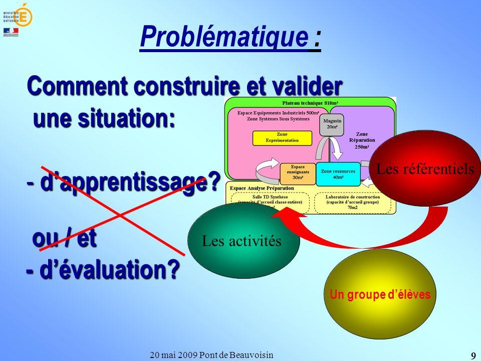 Comment construire et valider une situation: 20 mai 2009 Pont de Beauvoisin 9 Problématique : - dapprentissage? ou / et - dévaluation? ou / et - déval