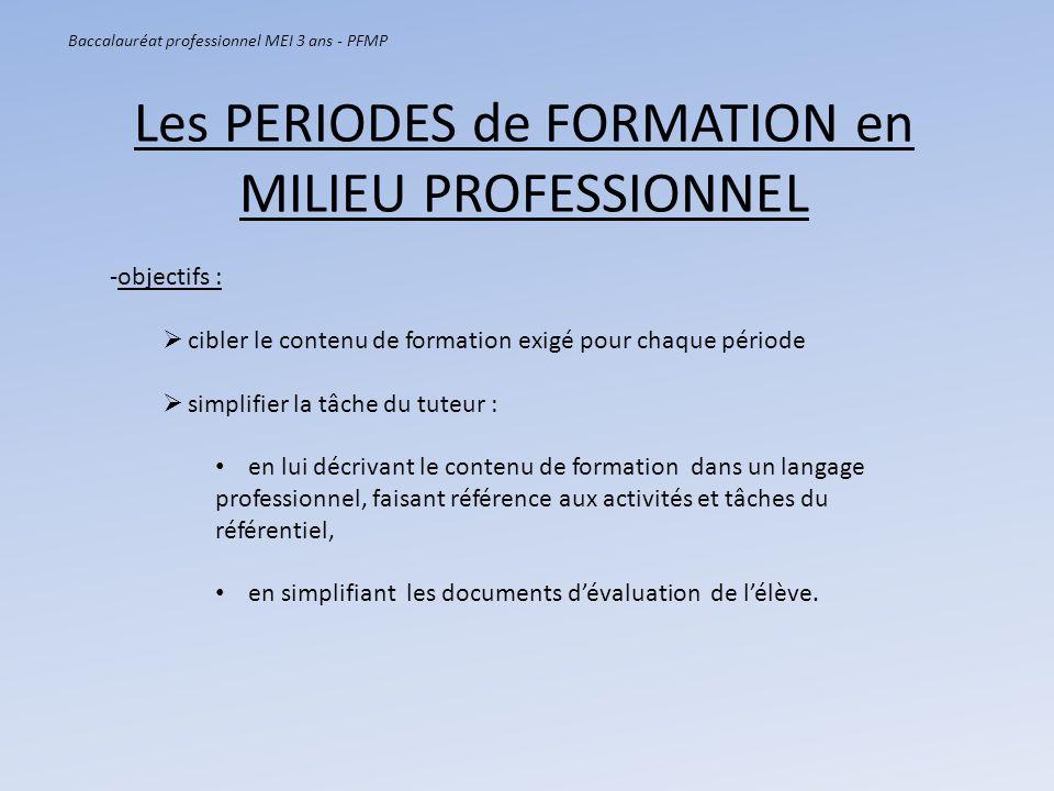 Les PERIODES de FORMATION en MILIEU PROFESSIONNEL Baccalauréat professionnel MEI 3 ans - PFMP -objectifs : cibler le contenu de formation exigé pour c