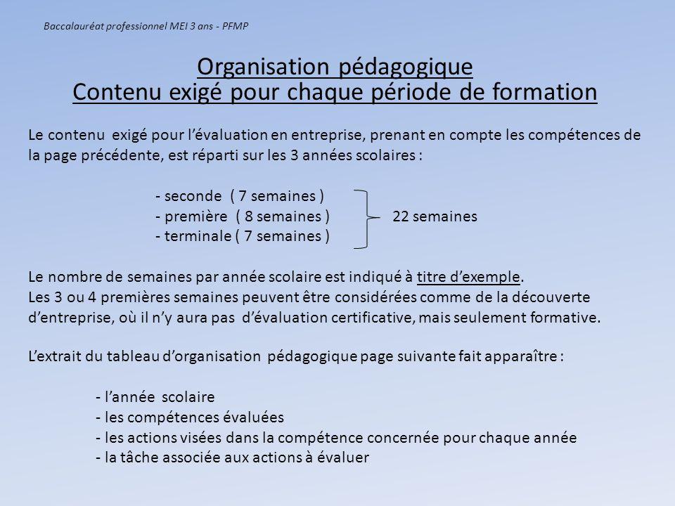 Baccalauréat professionnel MEI 3 ans - PFMP Le contenu exigé pour lévaluation en entreprise, prenant en compte les compétences de la page précédente,
