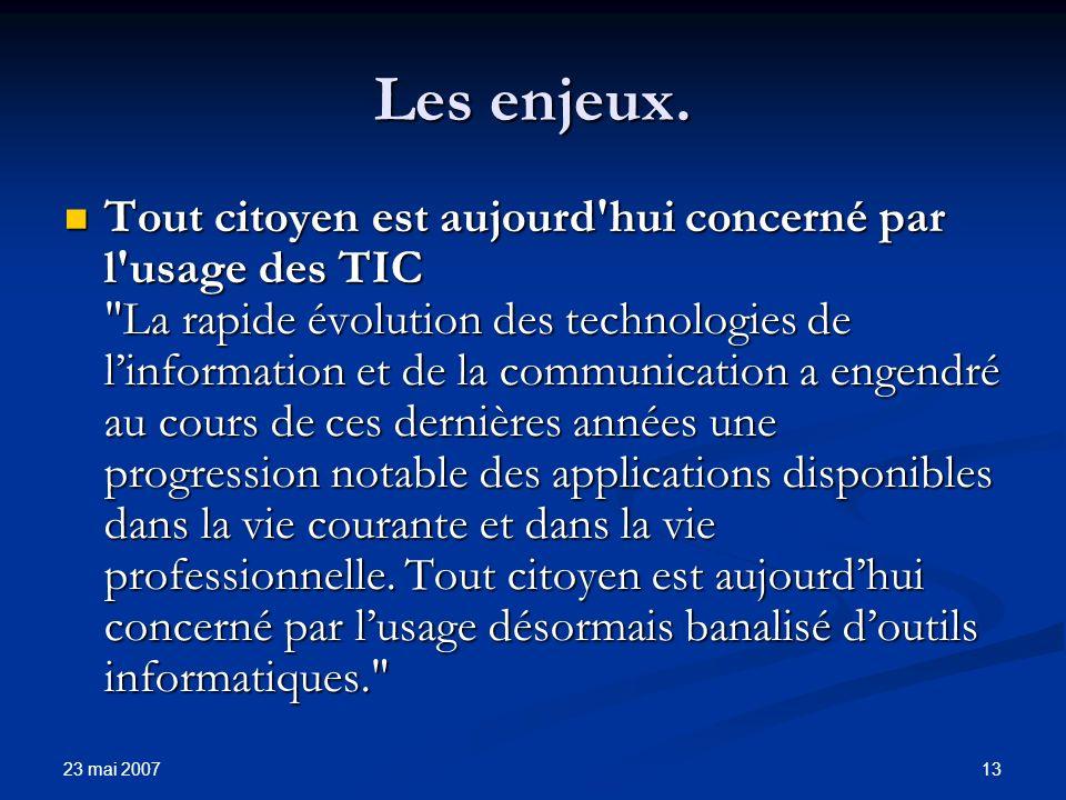 23 mai 2007 13 Les enjeux.