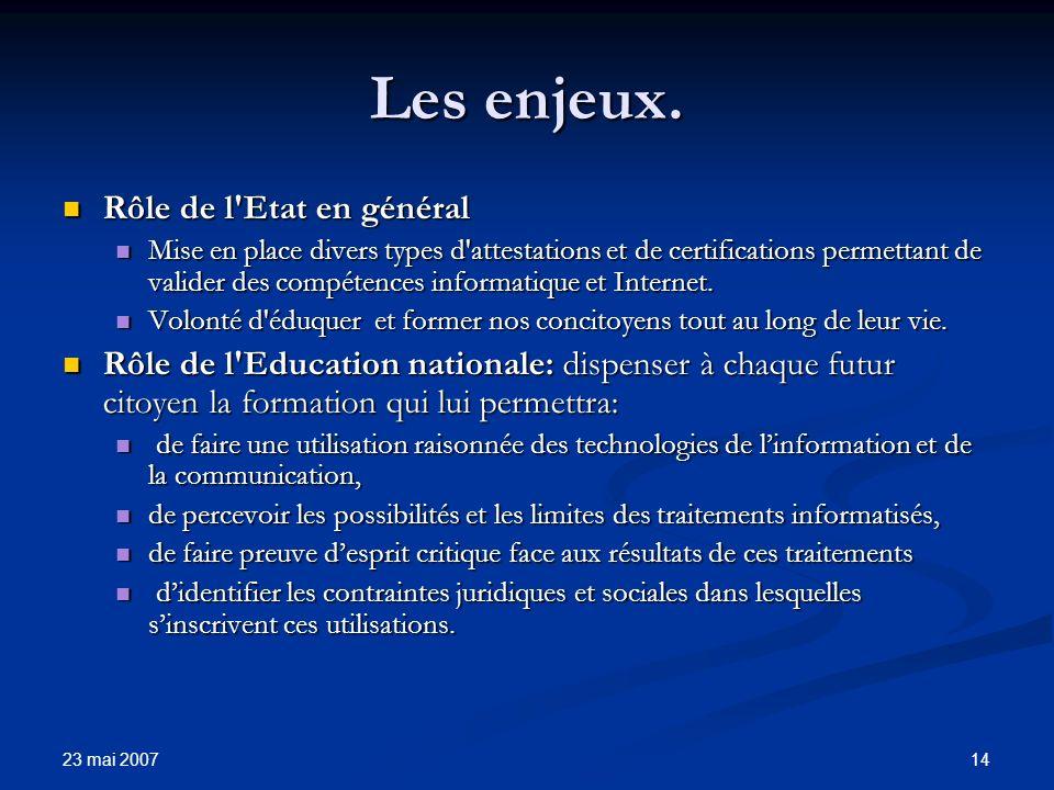 23 mai 2007 14 Les enjeux.