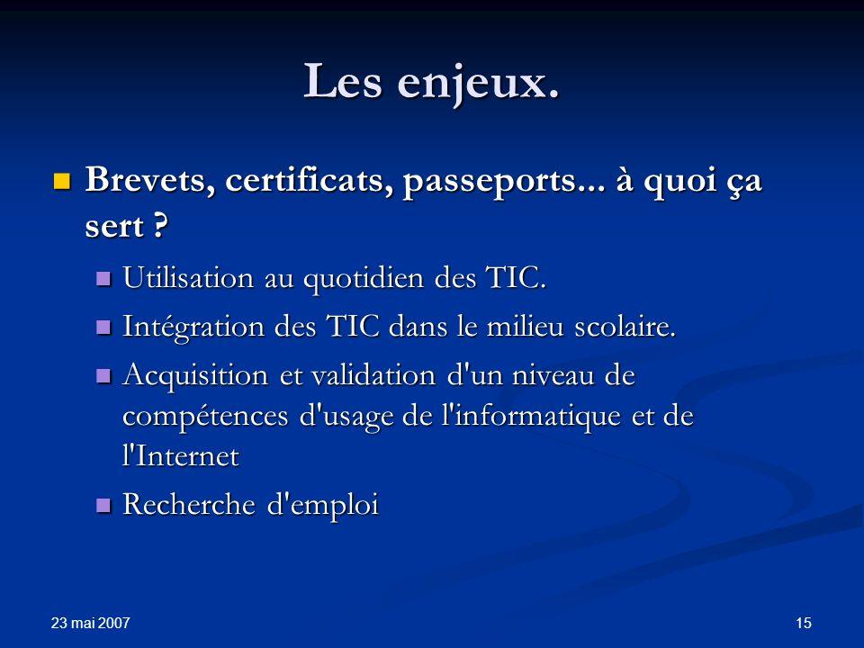 23 mai 2007 15 Les enjeux. Brevets, certificats, passeports...