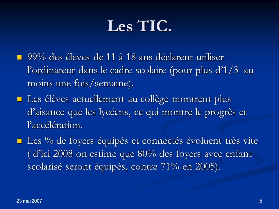 23 mai 2007 6 Les TIC.
