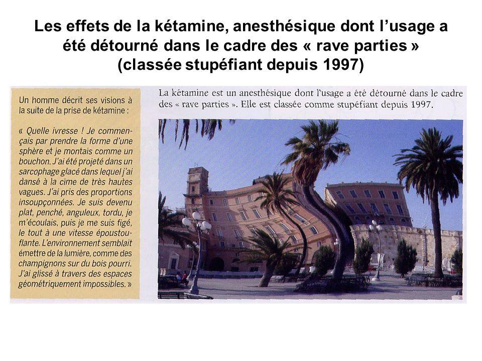Les effets de la kétamine, anesthésique dont lusage a été détourné dans le cadre des « rave parties » (classée stupéfiant depuis 1997)