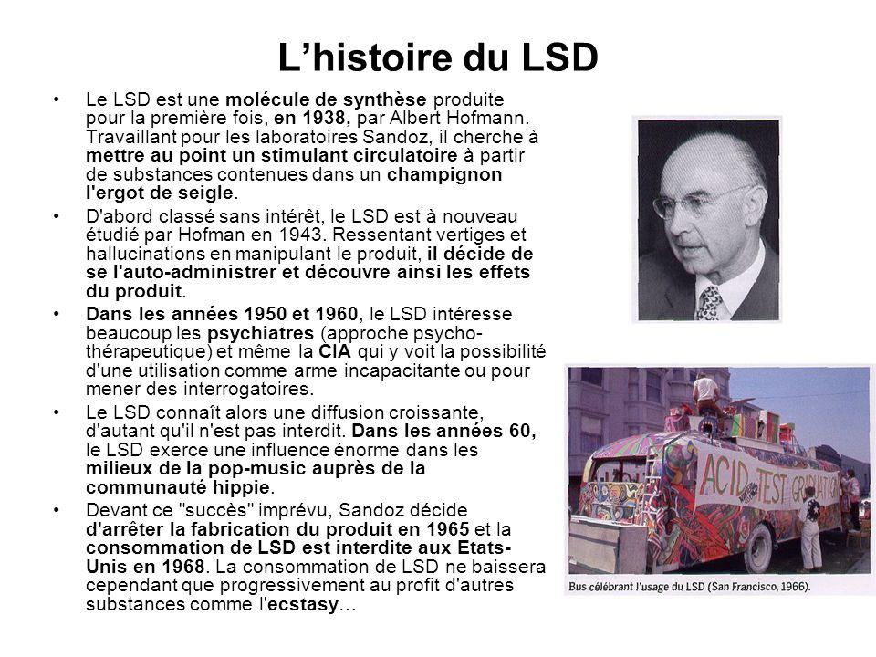 Lhistoire du LSD Le LSD est une molécule de synthèse produite pour la première fois, en 1938, par Albert Hofmann. Travaillant pour les laboratoires Sa