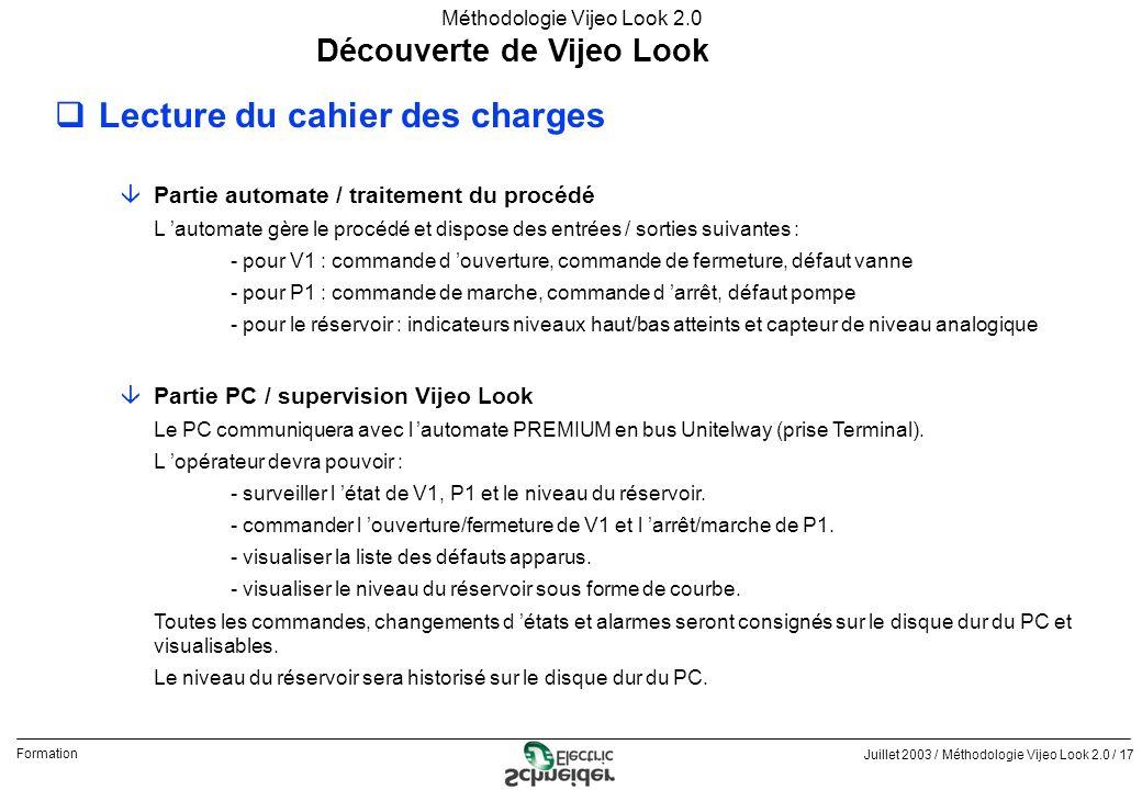 Juillet 2003 / Méthodologie Vijeo Look 2.0 / 17 Formation Méthodologie Vijeo Look 2.0 Découverte de Vijeo Look qLecture du cahier des charges âPartie