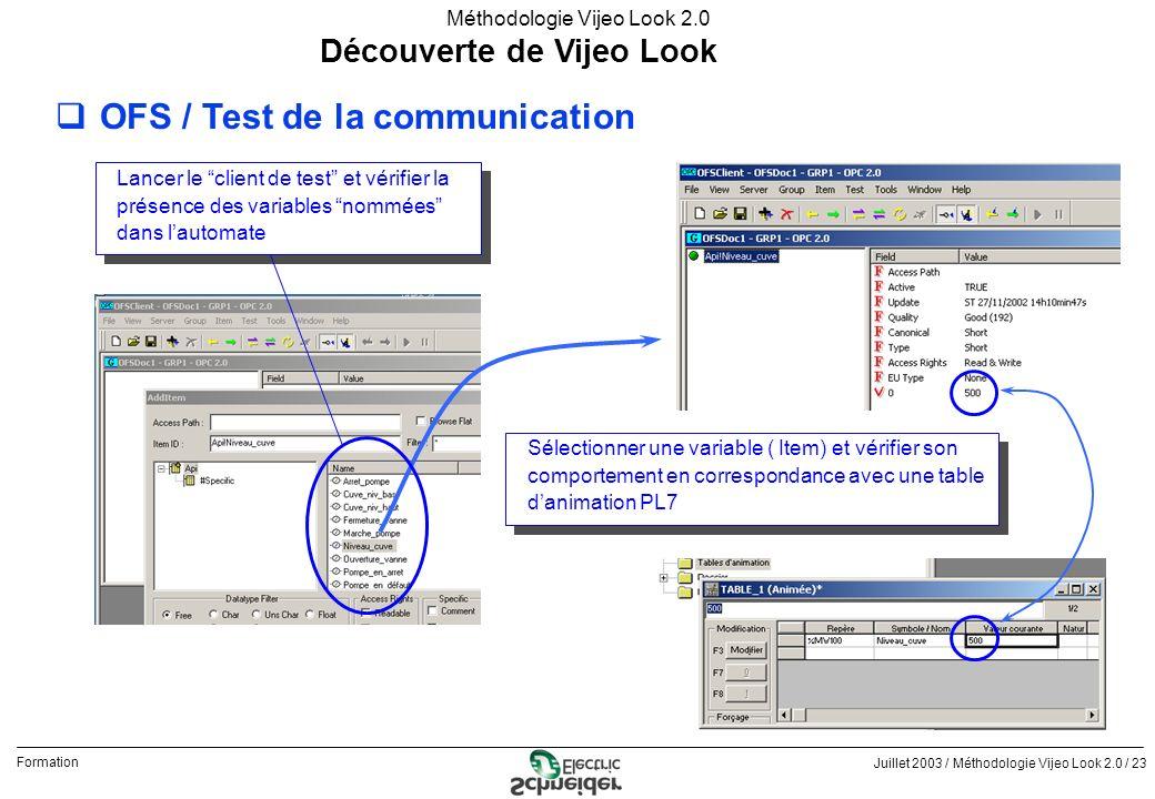 Juillet 2003 / Méthodologie Vijeo Look 2.0 / 23 Formation Méthodologie Vijeo Look 2.0 Découverte de Vijeo Look qOFS / Test de la communication Lancer