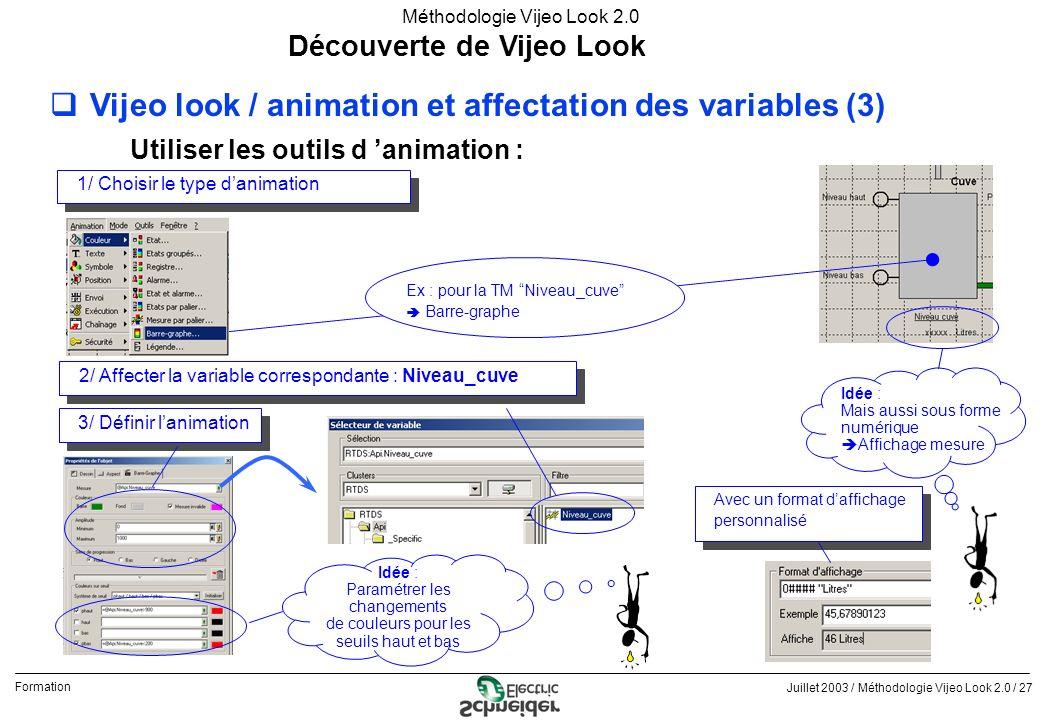 Juillet 2003 / Méthodologie Vijeo Look 2.0 / 27 Formation Méthodologie Vijeo Look 2.0 Découverte de Vijeo Look qVijeo look / animation et affectation